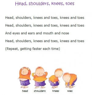 Head Shoulders Knees And Toes - TEXT, anglická píseň